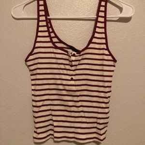 maroon and cream striped tank top